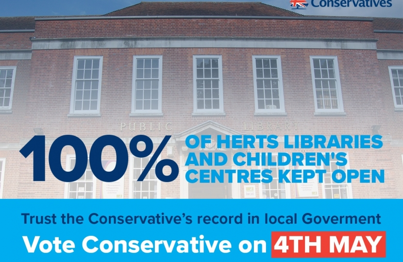 100% of Hertfordshire libraries and children's centres kept open